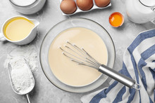 Batter For Thin Pancakes And Products On Light Grey Table, Flat Lay
