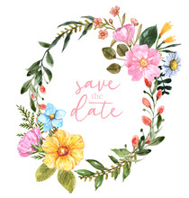 Watercolor Floral Frame Illustration. Beautiful Pink, Yellow, Blue Flowers And Green Leaves Isolated On White Background. Oval Shape Botanical Wreath.Template For Wedding Invitations, Cards