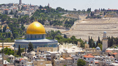 Fotografia Panorama overlooking the Old city of Jerusalem timelapse, Israel, including the