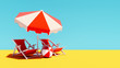 Two orange beach chairs with parasol on blue summer background 3D Rendering