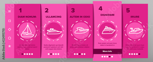 Fototapeta Yacht Marine Transport Onboarding Icons Set Vector. Luxury Yacht, Sailboat, Touristic Ship And Cruise Boat For Sea Trip Illustrations obraz