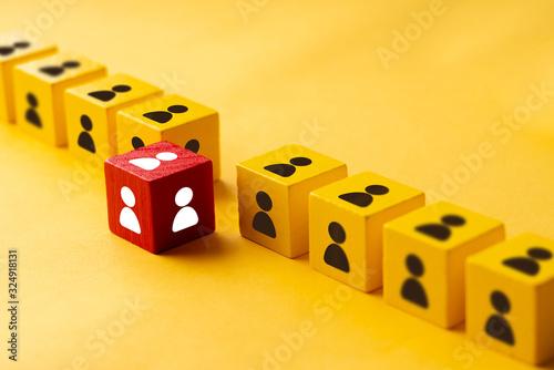 Obraz na plátně Business & HR puzzle colorful cube