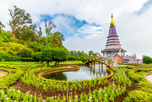 The Twin Royal Stupas Dedicated To His Majesty The King And Queen Of Thailand In Doi Inthanon National Park Near Chiang Mai Thailand. Phra Maha Dhatu Nabha Metaneedol And Nabhapol Bhumisiri