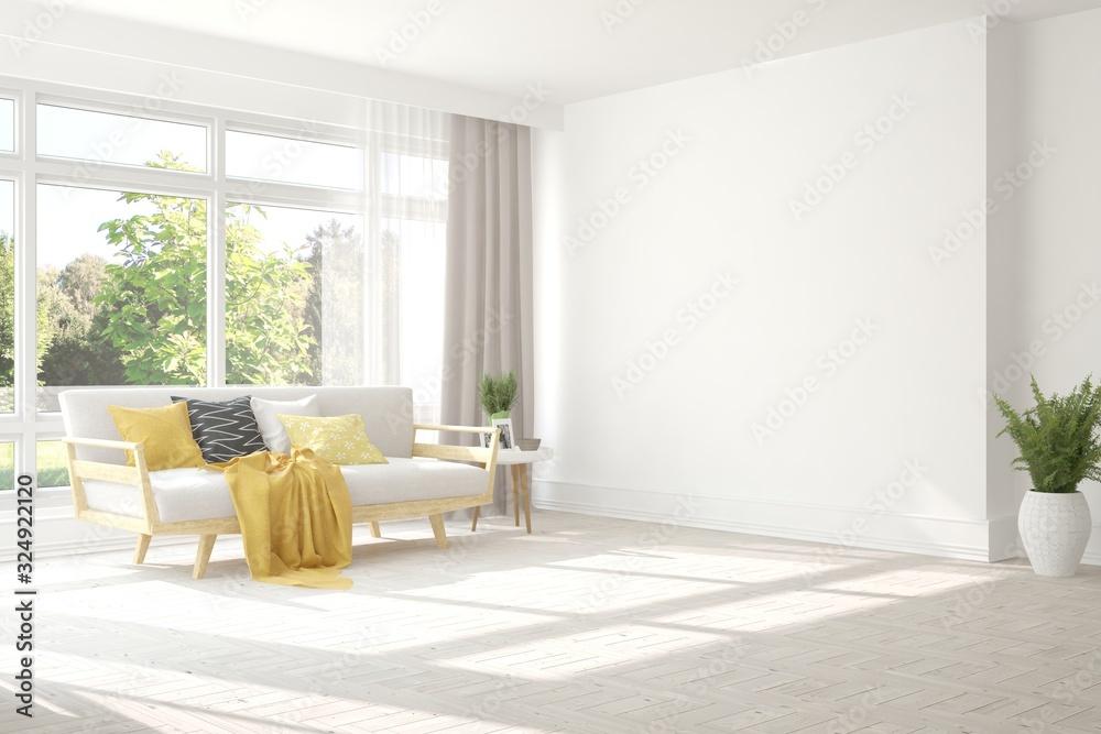 Fototapeta Minimalist living room in white color with sofa and summer landscape in window. Scandinavian interior design. 3D illustration