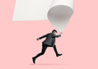 Imagine who's covering white sheet to get digital file icon. Office style young man catching the edge of huge paper sheet. Digital world, funny imagination of the way the icon's appearing.