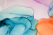 Abstract Fluid Art In Alcohol Ink Painting Technique.