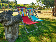 Two Chairs Two Colors Setting In The Garden With Coloured Sunbathing Cushions. Summer Concept