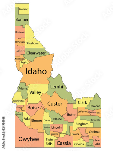 Colorful County Map With Counties Names of the US Federal State of Idaho Fototapete