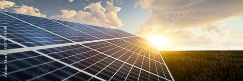 panoramic - solar panel at sunset Wallpaper Mural