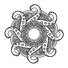Abstract Gothic Mandala With Celtic Tracery And Octopus Tentacles