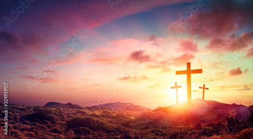 Obraz Crucifixion Of Jesus Christ  - Three Crosses On Hill At Sunset - fototapety do salonu