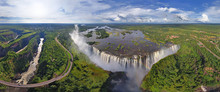 Panoramic Aerial View Of A Waterfall In Victoria Falls, Zambia-Zimbabwe