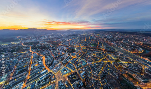 Aerial view of the city of Zurich at night, Switzerland - 324939756