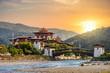 Leinwanddruck Bild - The famous Punakha Dzong in Bhutan