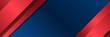 Modern blue red wide banner background for presentation design