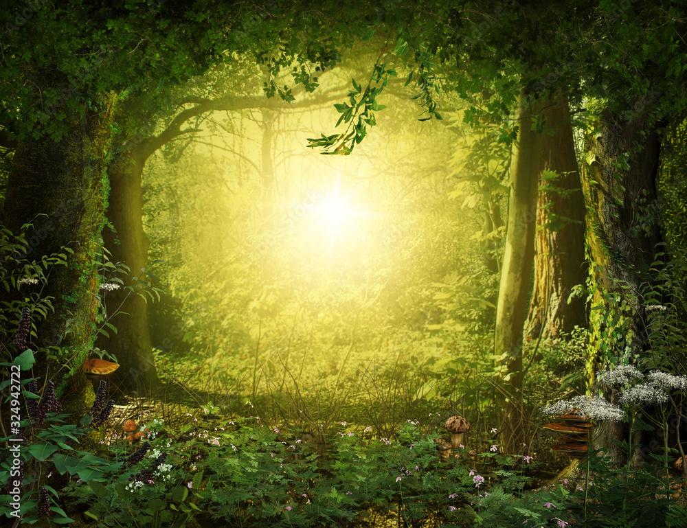 Fototapeta Beautiful enchanting fairy tale lush woodland, 3d render.