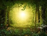 Beautiful enchanting fairy tale lush woodland, 3d render.