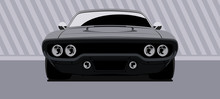 Front View On Dark Muscle Car. Vector Illustration.