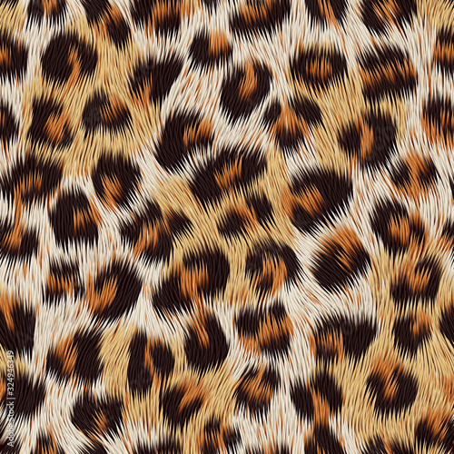 Fotomural Leopard skin print. Vector seamless pattern