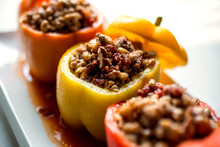 View Of Bell Peppers Stuffed W...