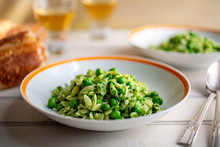Close Up Of Orzo With Peas And...