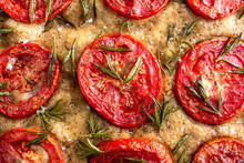 Close Up View Of Focaccia With...