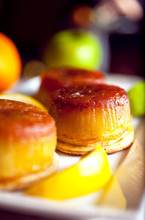 Selective Focus Of Flan Served...