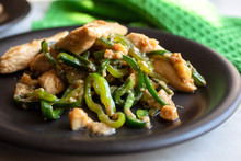 Stir Fried Chicken With Mixed Sweet And Hot Peppers And Cashews