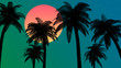 3d illustration silhouette of palm trees on a colorful, star filled sky background with the sun