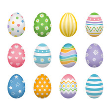 Set Of Easter Eggs Isolated On White