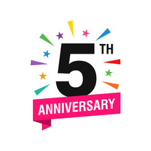 5th Years Anniversary Logo Des...