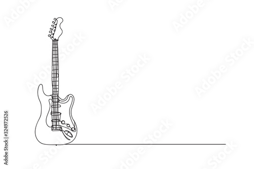 Photo electric guitar , line drawing style,vector design