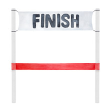 Water Color Illustration Of Finish Line Banner With Bright Red Ribbon. Hand Drawn Watercolour Sketchy Painting On White, Cutout Clipart Element For Creative Design, Poster, Sticker, Motivational Card.