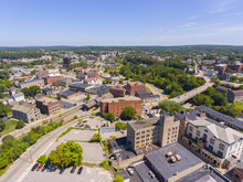 Woonsocket City Hall And Main Street Historic District Aerial View In Downtown Woonsocket, Rhode Island RI, USA.