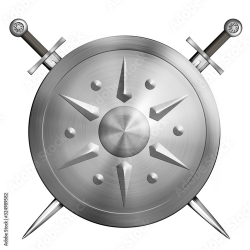 Fotografie, Obraz metal round shield with crossed swords isolated 3d illustration