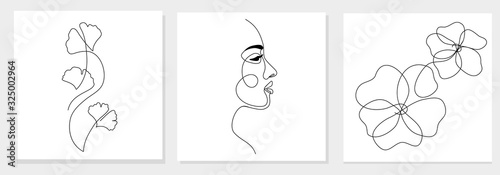 One line drawing abstract woman face, ginkgo biloba leaf, flower. Modern single line art, female portrait, aesthetic contour. Great for poster, wall art, tote bag, t-shirt print, sticker, logo. Vector - fototapety na wymiar