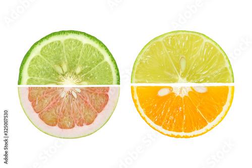 Photo Sour Fruit slices parts of Grapefruit,bergamot,Orange, lemon, lime isolated on w
