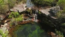 Tilt Drone Aerial Of Waterfall...