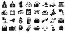 Money Laundering Icons Set. Si...