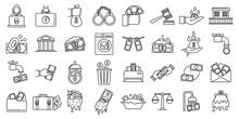 Money Laundering Offshore Icons Set. Outline Set Of Money Laundering Offshore Vector Icons For Web Design Isolated On White Background