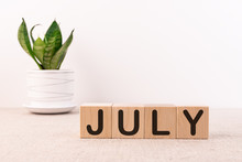 The Word July On Wooden Cubes....