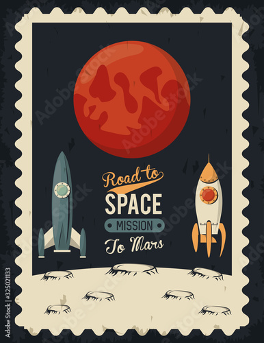 Photo life in the space poster with mars and rockets