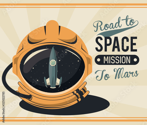 Photo life in the space poster with astronaut helmet