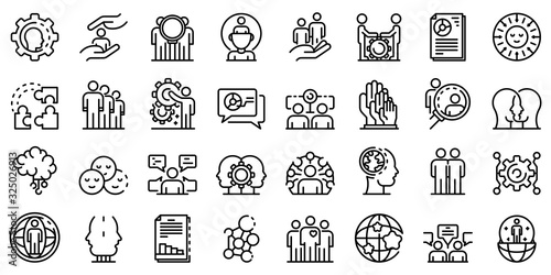 Obraz Sociology icons set. Outline set of sociology vector icons for web design isolated on white background - fototapety do salonu