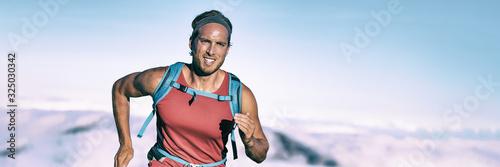 High intensity interval training triathlete man runner running breathing hard sweating on triathlon race endurance workout panoramic banner background Tableau sur Toile