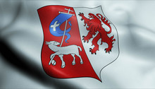 3D Waved France Coat Of Arms Flag Of Auch