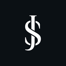 Initial Letter JS Or SJ Logo Template With Overlap Serif Font Symbol In Flat Design Monogram Illustration