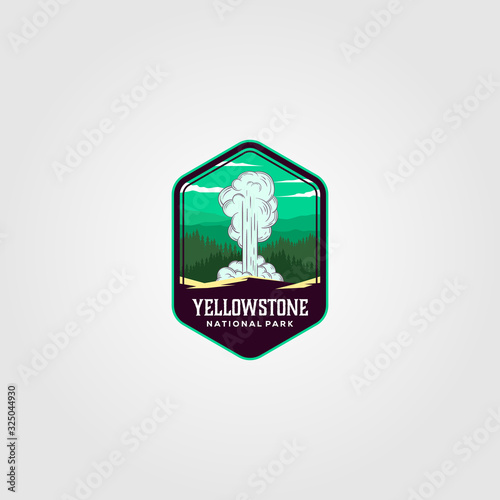 Obraz na plátne geyser eruption on yellowstone national park logo vector illustration design