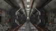 Korridor in fiktivem Raumschiff oder Raumstation Sci-Fi
