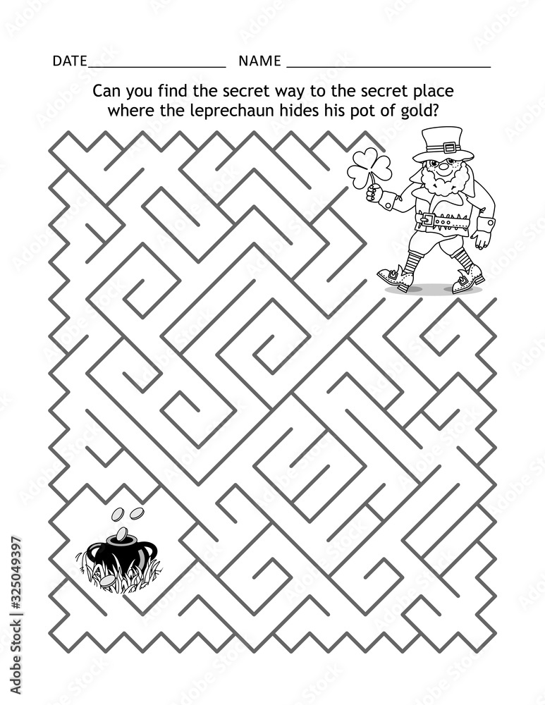 Fototapeta St Patrick's Day maze game or activity page for children: Can you find the secret way to the secret place where the leprechaun hides his pot of gold?